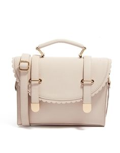 Image 1 of ASOS Satchel Bag With Scallop Flap And Metal Tips