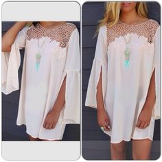 BOHO Peasant Hippie Chick Dress Lace Blouse Top PLEASE COMMENT BELOW, LISTING WILL BE MADE FOR YOU. Current  Stock: 3 Medium (marked L) 3 Large marked (XL) Brand new adorable hippie/boho vibe dress. Could also be worn as a top with leggings. Would look sooo cute with cowboy boots! Boutique Dresses Mini