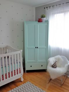 DIY Painted Wooden Wardrobe for the Nursery (just fasten to the wall for safety!) #DIY #nursery. I like these soft, serene colors.