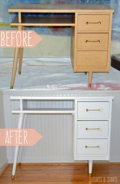 A vintage desk gets a makeover using the HomeRight Finish Max Sprayer. Desk Makeover, Furniture Makeover, Diy Furniture, Furniture Design, Types Of Furniture, Furniture Styles, Do It Yourself Inspiration, Cleaning Walls, Recycled Furniture