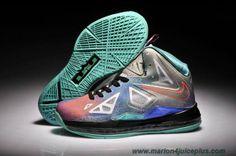 New Pure Platinum Womens Nike LeBron X 541100-008 Pure Platinum Black-Sport Turquoise