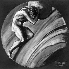 Title: Sisyphus / Artist: Granger / Medium: Photograph - Drawing / Description: MYTHOLOGY: SISYPHUS. / Drawing by Sir Edward Burne-Jones (1833-1898).