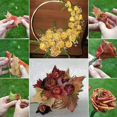 DIY rose with fall leaves