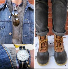 Bean Boots and denim - always a win! Guy Style, Men's Style, Cool Style, Autumn Fashion, Men's Fashion, Fashion Outfits, Casual Outfits, Men Casual, Dapper Day