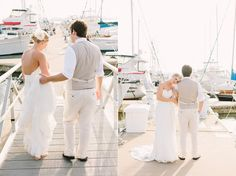 Wedding photos in the Yacht Harbor at Charleston Harbor Resort and Marina.  photography by: lindseyamiller.com