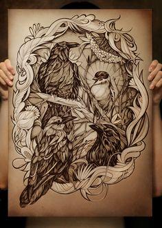 Crows by Alice Macarova, via Behance