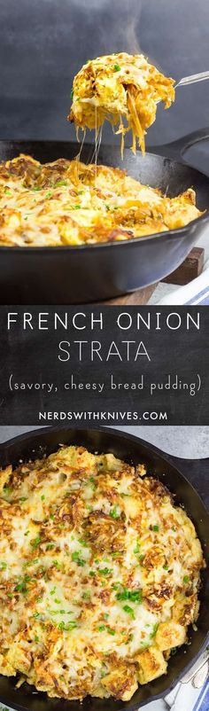 The flavors of French onion soup transformed into a hearty, cheesy strata (a savory bread pudding). Fantastic as breakfast, lunch or dinner.