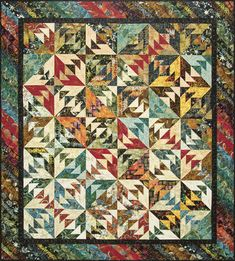 Quiltworx Indian Summer quilt kit with pattern and Timeless Treasures batik fabric kit designed by Judy Niemeyer was designed as a tool to teach foundation paper piecing. The kit includes Indian Summe Batik Quilts, Scrappy Quilts, Navajo, Texas Quilt, Indian Quilt, Summer Quilts, American Quilt, Book Quilt, Summer Patterns