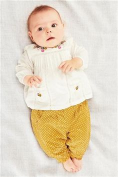 Cream Embellished Blouse (0-18mths)  Ochre Spot Cord Trousers (0-18mths)