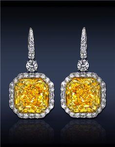 Fancy Yellow Diamond Drop Earrings #fk #fashionkiosk #jewellery