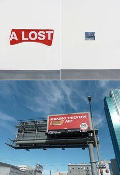 A LOST  by Julien Berthier  2011, Bâche publicitaire arrachée (220 x 80 cm), photographie couleur (40 x 50 cm) #art #lost