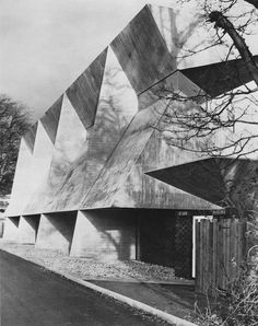 Fairydean Football Club Stand, Galashiels, Scotland, 1963 by Peter Womersley Gothic Architecture, Architecture Design, Architecture Drawings, Artist Workshop, Interesting Buildings, Modern Buildings, Brutalist, Illustration, Concrete