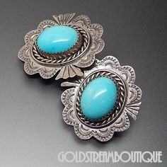 Native American Ben Yazzie Navajo Sterling Silver Gorgeous American Turquoise Ethnic Concho Earrings