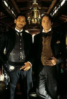 Kevin Kline & Will Smith During the Filming of 'Wild Wild West'.