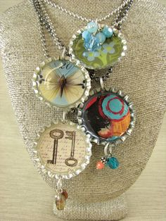 Super-cute bottle cap pendant tutorial. Bottom key image is from www.instantcollagesheets.com