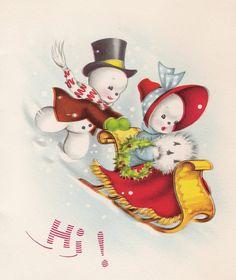 Love the yesteryear charm of a vintage Christmas card! Snow boy lends a hand as snow girl takes a sleigh ride... <> (retro, Xmas, snowfolk, snowmen)