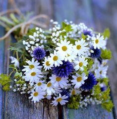 """From Heather>Like """"simple, clean, small/medium, daisies, babies breath, also fan of carnations, either all white or with splashes of purple"""""""