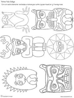 Pocahontas Porcupine Elk Frog Bear Sun Cougar Totem Good natured, reminder of… American Indian Art, Native American Art, Totem Pole Art, Native American Projects, Arte Tribal, 5th Grade Art, Art Worksheets, Thinking Day, Middle School Art