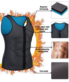 5dbffb434b836 Men Waist Trainer Vest for Weightloss Hot Neoprene Corset Body Shaper  Zipper Sauna Tank Top Workout