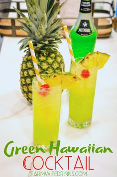 Green Hawaiian Cocktail combines all the tropical flavors of pineapple melon coconut and citrus with Midori Malibu Rum pineapple juice and lemonlime soda for the best bea. Midori Cocktails, Malibu Rum Drinks, Beach Drinks, Fruity Drinks, Wine Drinks, Cocktail Drinks, Tropic Drinks, Beverages, Drinks With Midori