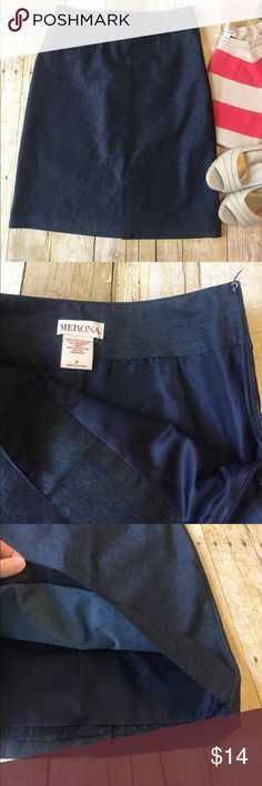 "Dark Blue Dressy Denim Inspired Skirt Meroma 31"" long, side zip, 14"" across the smallest part of the waist. Poly/cotton/spandex blend. Has some stretch. Machine wash. Smoke free home great condition. Falls about knee length or right above knee depending on height. Great for work. Has that dressy denim look without denim material. From Target. Merona Skirts Pencil"