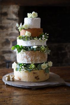 A cheese wedding cake shouldn't contain cheeses that all taste the same and have the same texture.