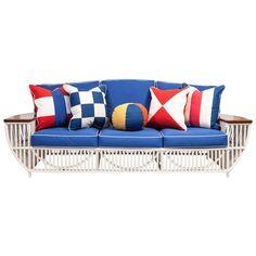 Custom Nine-Piece Bielecky Rattan Suite- One Sofa, Four Armchairs, Four Ottomans