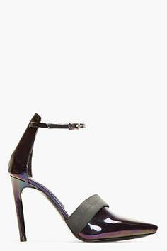 Proenza Schouler Black Iridescent Ankle Strap D'orsay Pumps for women   SSENSE
