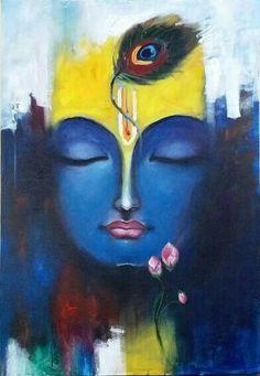 Trendy Ideas For Wall Paper Art Painting Canvases Ganesha Painting, Buddha Painting, Madhubani Painting, Buddha Art, Zantangle Art, Krishna Art, Krishna Images, Radha Krishna Sketch, Krishna Drawing