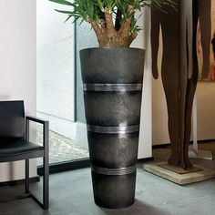 Cosmos Black Large Round Tall Polystone Planter D35 H95 cm