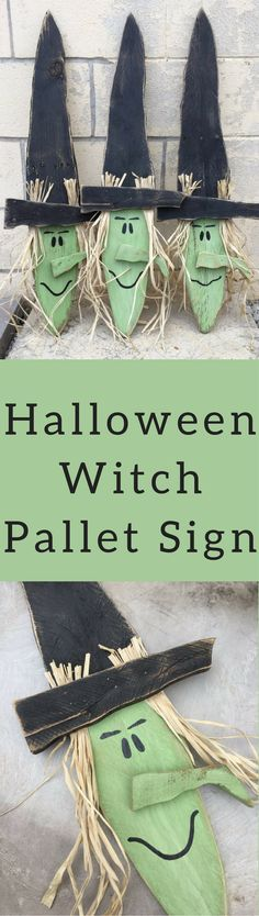 Halloween Witch Pallet Sign, Porch Decor, Fall Yard Sign, Pallet Decor Outdoor Yard Art Autumn Green Wizard of Oz Wicked Witch Halloween Decoration #affiliatelink