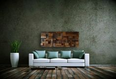 "Custom Made Reclaimed Wood Wall Art 48""X19""X3.5"" Made Of Barnwood"