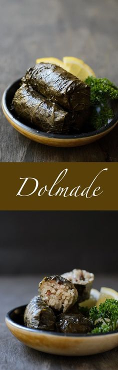 Dolmades recipe. These mouth watering dolmades  are filled with rice and herbs, and served with a little squeeze of lemon. Superb as entree.