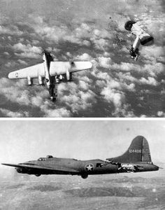 The death of a hit by flak over the Reich circa ramed by a Luftwaffe fighter yet managed to return to its N. Luftwaffe, Ww2 Aircraft, Military Aircraft, Image Avion, Ww2 Planes, War Machine, Military History, World War Two, Wwii