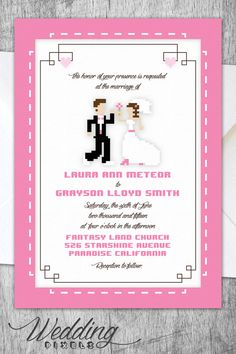 pixel wedding invitation