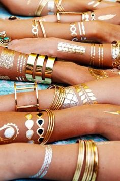 Gold temporary Tattoos