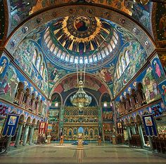 """""""Sibiu Neo-Byzantine Cathedral, Romania - built between (Photo by Armand Niculescu)"""" Church Architecture, Religious Architecture, Ancient Architecture, Sibiu Romania, Church Interior, Place Of Worship, Byzantine, Places Around The World, Barcelona Cathedral"""
