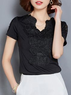 Fashionmia - Fashionmia Split Neck Decorative Lace Plain Short Sleeve T-Shirt - AdoreWe.com