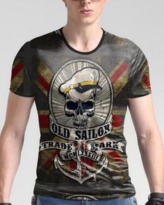 5544bab1f 3D old sailor skull t shirt vintage British flag plus size clothing for big  and tall