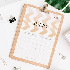 calendario 2019 julio Calendar 2019 Printable, Print And Cut, Projects To Try, Notebook, Bullet Journal, Pattern, Journal Ideas, Joker, Templates