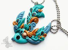 """Kette Vogel """"Bläuling"""" Edelstahl handmade von pairofwings Schmuckdesign auf DaWanda.com"""