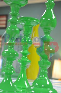 """Green candle holders will give your home a """"wow""""!! That darn yellow one photo-bombed AGAIN!!"""