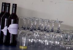Glasses and personalised wine bottles