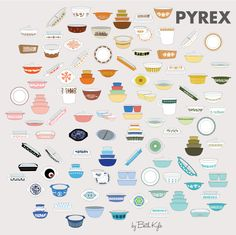 I cannot wait till the creator of this 100 pieces of Pyrex poster figures out a way to easily sell prints! Vintage Kitchenware, Vintage Dishes, Vintage Glassware, Vintage Pyrex, Vintage Tins, Pyrex Vintage Patterns, Corningware Vintage, Decor Vintage, Vintage Kitchen Decor
