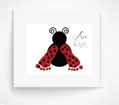 Baby Footprint Ladybug Nursery Art Print - Baby Girl Nursery Art - Red, Pink Nursery Wall Art - Personalized Girls Room
