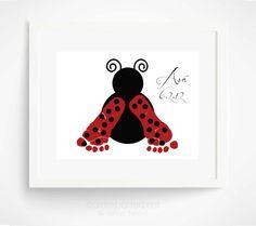 Baby Footprint Ladybug Nursery Art Print  by PitterPatterPrint, $30.00