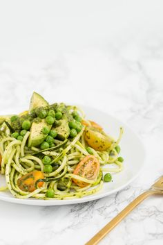 Avocado and Tomato Pea Salad with Zucchini Noodles and Basil Vinaigrette