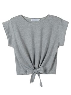 Buy Gray Tie Front Crop Top from abaday.com, FREE shipping Worldwide - Fashion Clothing, Latest Street Fashion At Abaday.com