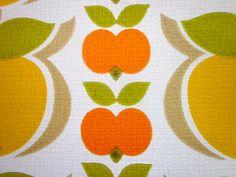 Vintage 1970s Wallpaper - Orange Apples - Price per yard. $18.00, via Etsy.