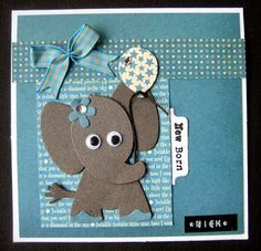 Scrapspul van Colien Baby Boy Cards, Baby Shower Cards, Cricut Invitations, Baby Elefant, Cardmaking And Papercraft, Kids Birthday Cards, Marianne Design, Animal Cards, Baby Scrapbook